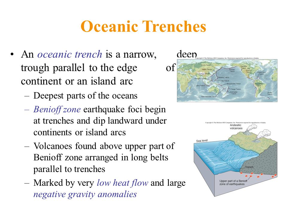 Oceanic Trenches An oceanic trench is a narrow, deep trough parallel to the edge of a continent or an island arc –Deepest parts of the oceans –Benioff zone earthquake foci begin at trenches and dip landward under continents or island arcs –Volcanoes found above upper part of Benioff zone arranged in long belts parallel to trenches –Marked by very low heat flow and large negative gravity anomalies