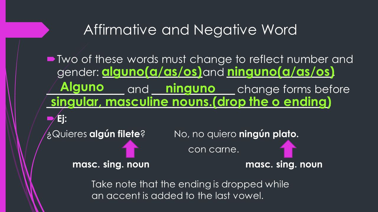 Affirmative and Negative Word  Two of these words must change to reflect number and gender: __________________and ___________________.