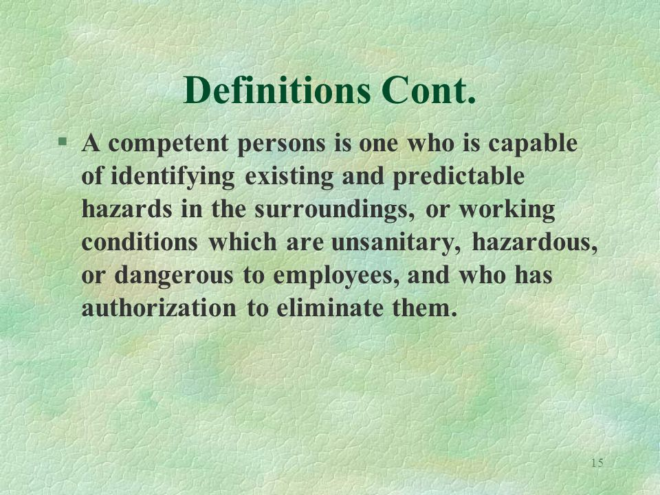 15 Definitions Cont.
