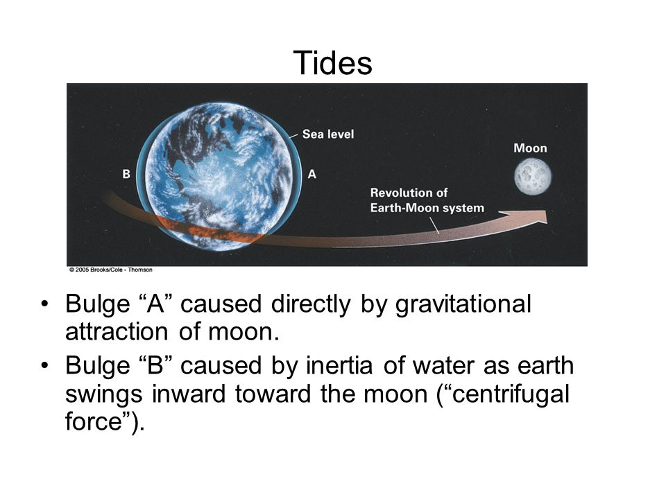 Tides Bulge A caused directly by gravitational attraction of moon.