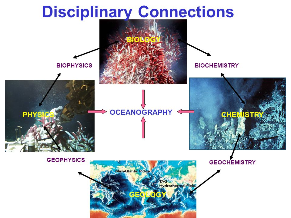 Disciplinary Connections BIOLOGY BIOCHEMISTRY OCEANOGRAPHY PHYSICS GEOLOGY CHEMISTRY GEOPHYSICS BIOPHYSICS GEOCHEMISTRY