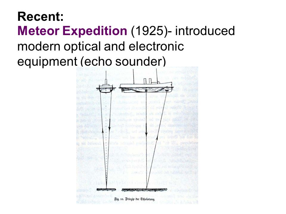 Meteor Expedition (1925)- introduced modern optical and electronic equipment (echo sounder) Recent: