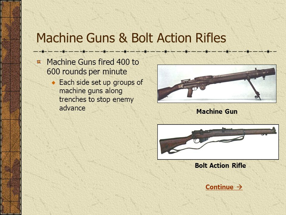 Machine Guns & Bolt Action Rifles Machine Guns fired 400 to 600 rounds per minute Each side set up groups of machine guns along trenches to stop enemy advance Machine Gun Bolt Action Rifle Continue 