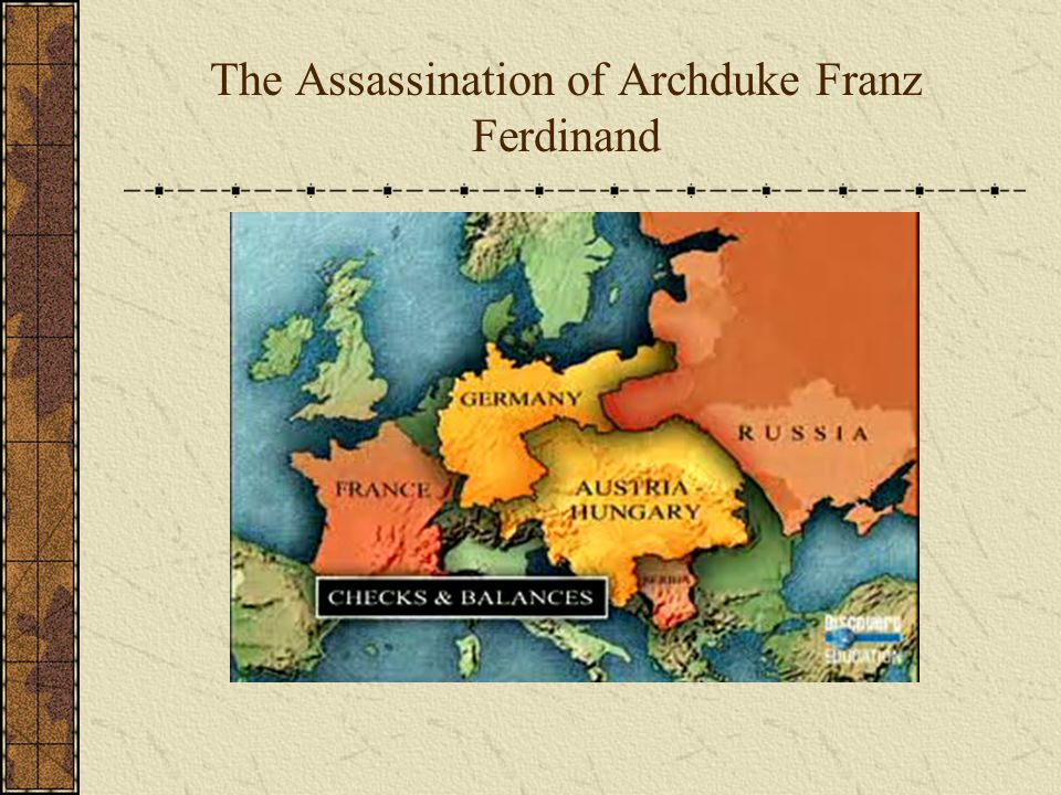 World War 1 begins The assassination of Archduke Franz Ferdinand was the spark that ignited Europe into Total War.