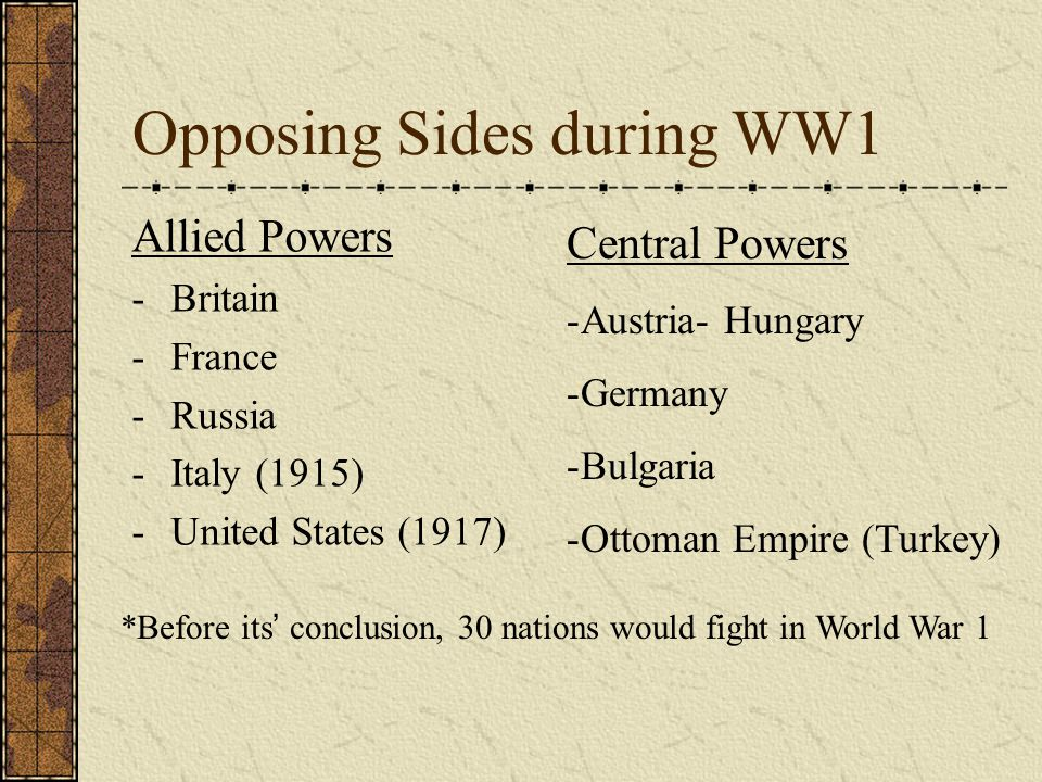 Opposing Sides during WW1 Allied Powers -Britain -France -Russia -Italy (1915) -United States (1917) Central Powers -Austria- Hungary -Germany -Bulgaria -Ottoman Empire (Turkey) *Before its ' conclusion, 30 nations would fight in World War 1