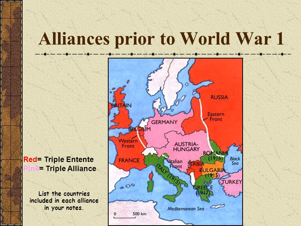 Alliances prior to World War 1 Red= Triple Entente Pink= Triple Alliance List the countries included in each alliance in your notes.