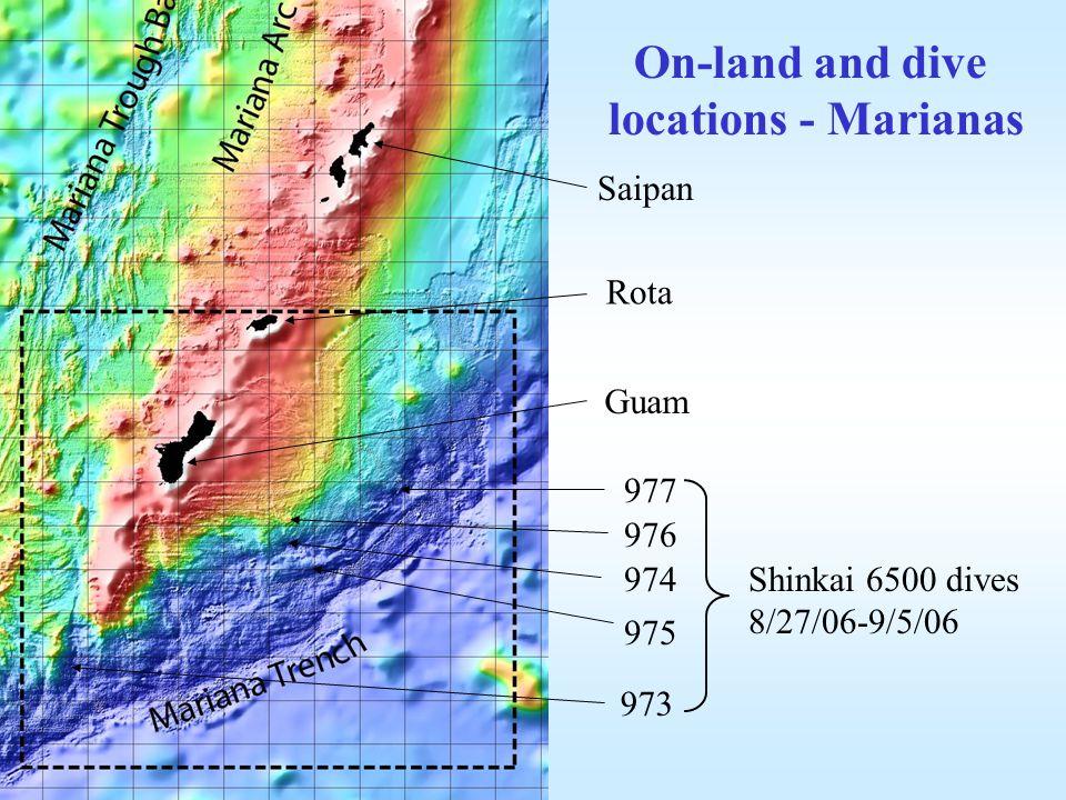 Saipan Rota Guam 973 974 975 976 977 On-land and dive locations - Marianas Shinkai 6500 dives 8/27/06-9/5/06