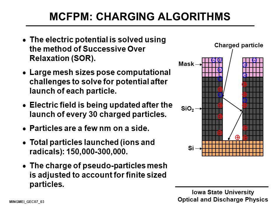 Iowa State University Optical and Discharge Physics MCFPM: CHARGING ALGORITHMS  The electric potential is solved using the method of Successive Over