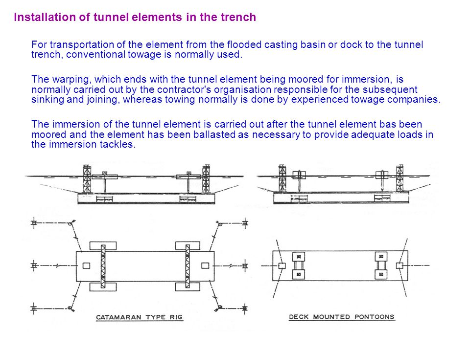 Installation of tunnel elements in the trench For transportation of the element from the flooded casting basin or dock to the tunnel trench, conventio