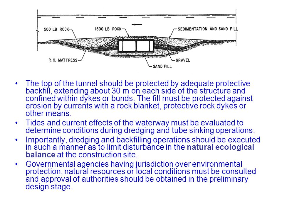 The top of the tunnel should be protected by adequate protective backfill, extending about 30 m on each side of the structure and confined within dyke