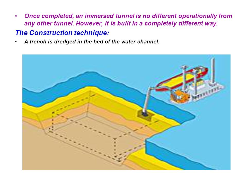 Immersed tunnels can be placed immediately beneath a waterway.