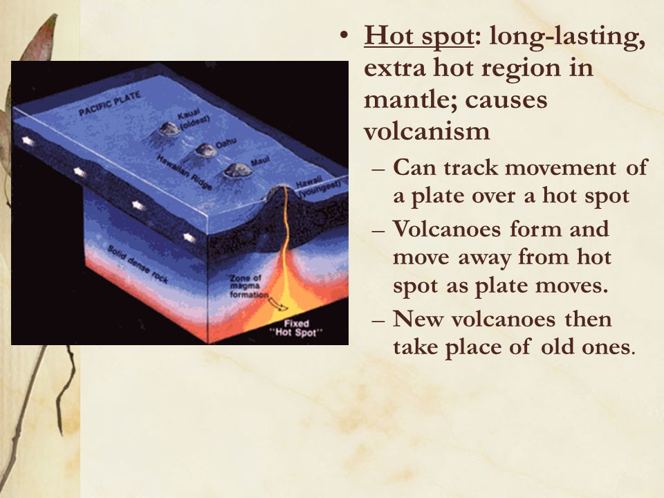 Hot spot: long-lasting, extra hot region in mantle; causes volcanism –Can track movement of a plate over a hot spot –Volcanoes form and move away from