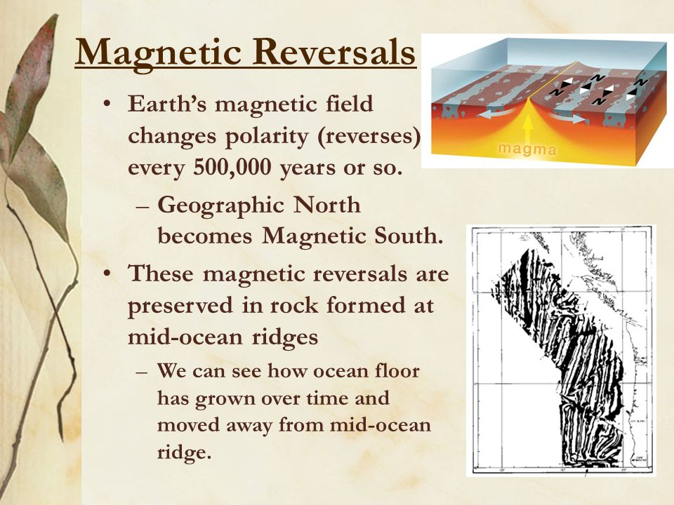 Magnetic Reversals Earth's magnetic field changes polarity (reverses) every 500,000 years or so. –Geographic North becomes Magnetic South. These magne