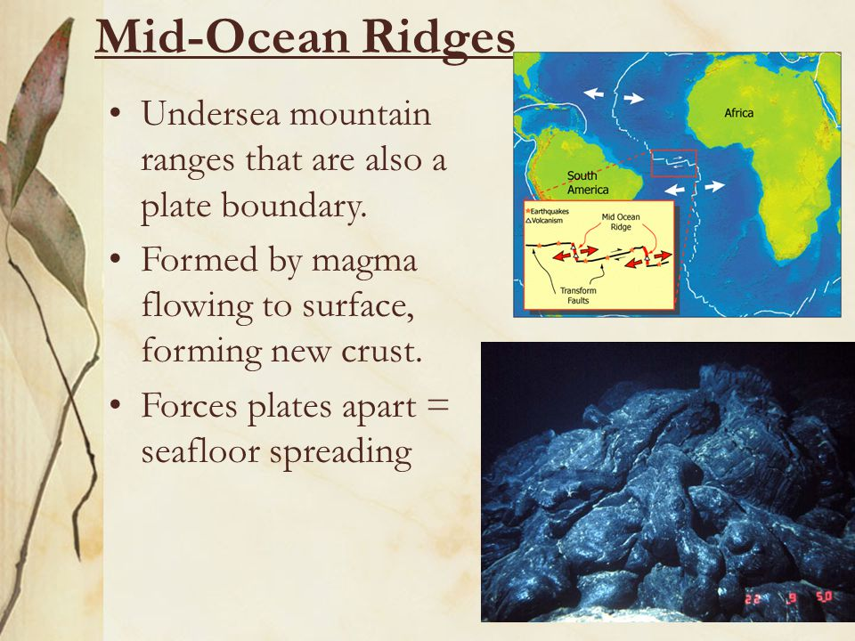 Mid-Ocean Ridges Undersea mountain ranges that are also a plate boundary. Formed by magma flowing to surface, forming new crust. Forces plates apart =