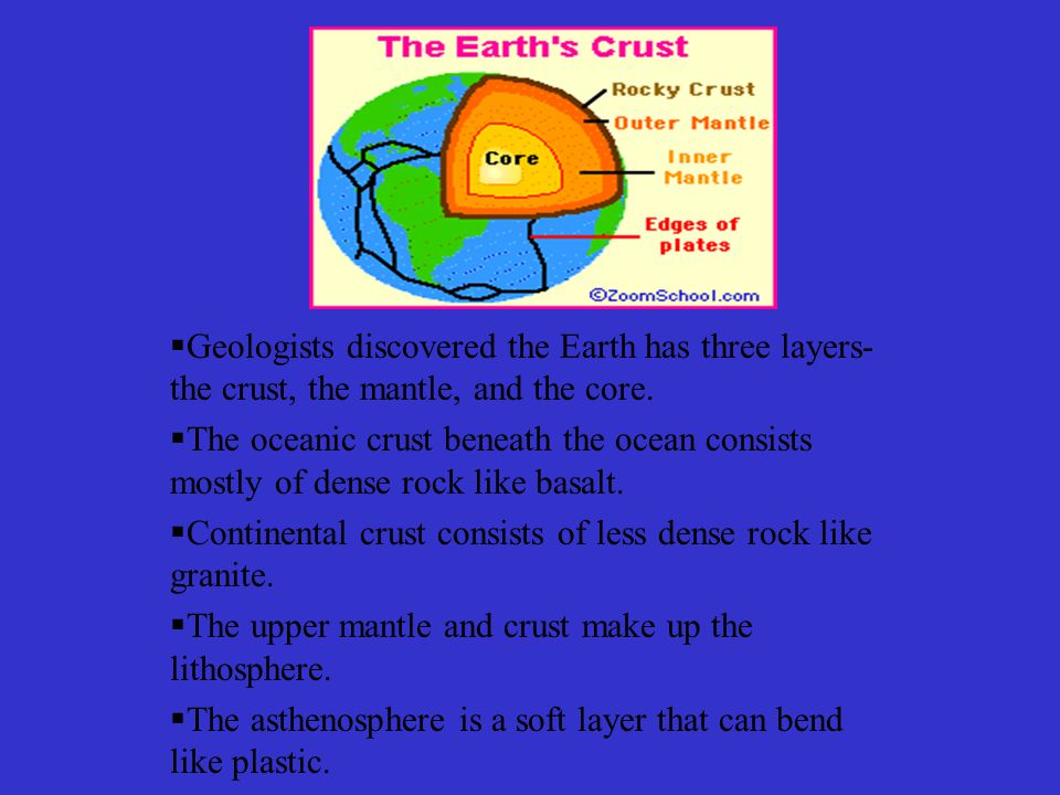  Geologists discovered the Earth has three layers- the crust, the mantle, and the core.
