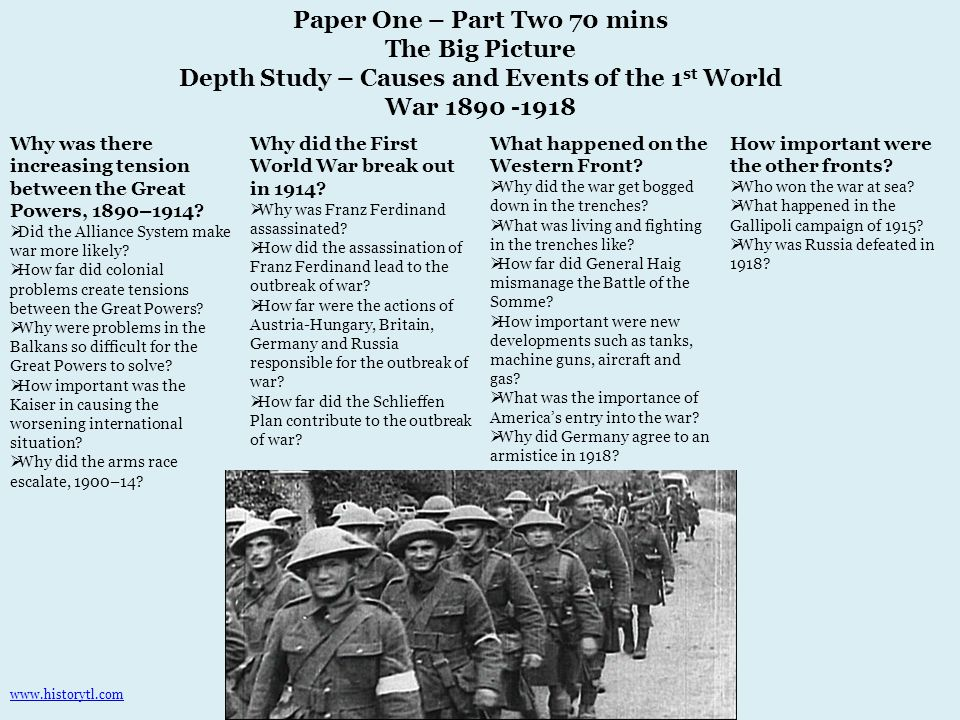 Paper One – Part Two 70 mins The Big Picture Depth Study – Causes and Events of the 1 st World War 1890 -1918 Why was there increasing tension between the Great Powers, 1890–1914.