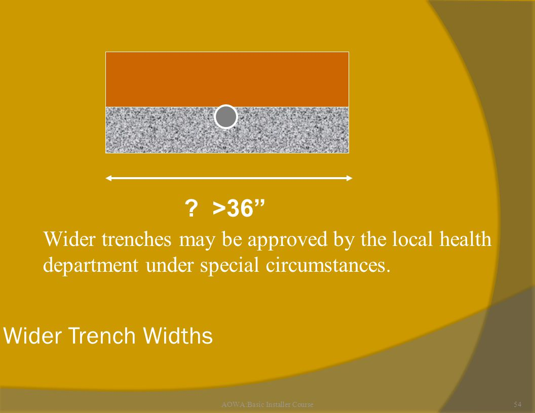 AOWA:Basic Installer Course54 Wider Trench Widths .