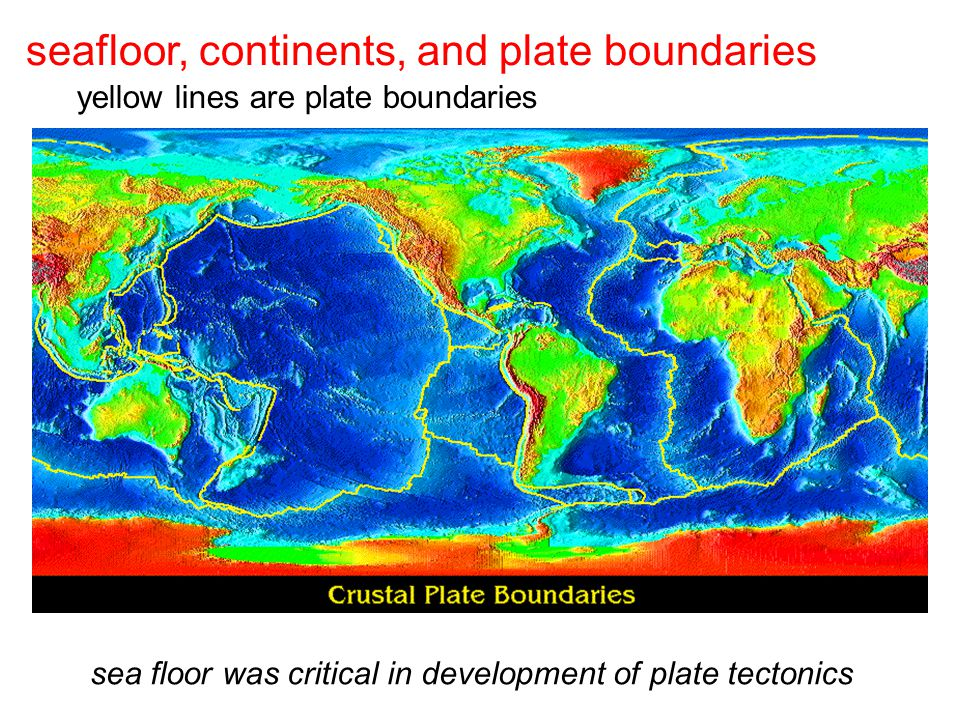 sea floor was critical in development of plate tectonics yellow lines are plate boundaries seafloor, continents, and plate boundaries
