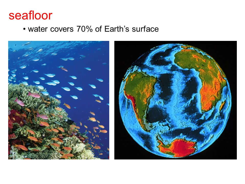 seafloor water covers 70% of Earth's surface