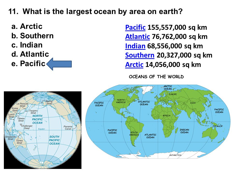 11. What is the largest ocean by area on earth? PacificPacific 155,557,000 sq km AtlanticAtlantic 76,762,000 sq km IndianIndian 68,556,000 sq km South
