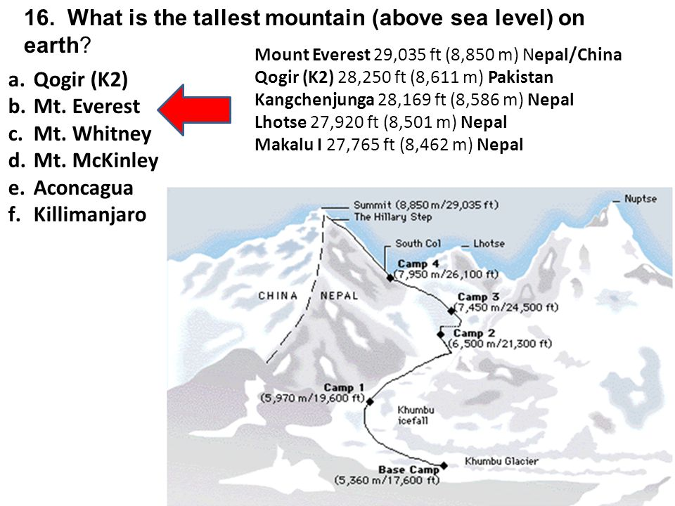16. What is the tallest mountain (above sea level) on earth.