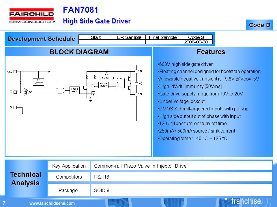 7 High Side Gate Driver FAN7081 High Side Gate Driver Code D Development Schedule Features TechnicalAnalysis Key ApplicationCommon-rail Piezo Valve in Injector Driver CompetitorsIR2118 Package SOIC-8 BLOCK DIAGRAM 600V high side gate driver Floating channel designed for bootstrap operation Allowable negative transient is –9.8V @Vcc=15V High dV/dt immunity.[50V/ns] Gate drive supply range from 10V to 20V Under-voltage lockout CMOS Schmitt-triggered inputs with pull-up High side output out of phase with input 120 / 110ns turn-on/ turn-off time 250mA / 500mA source / sink current Operating temp : -40  C ~ 125  C