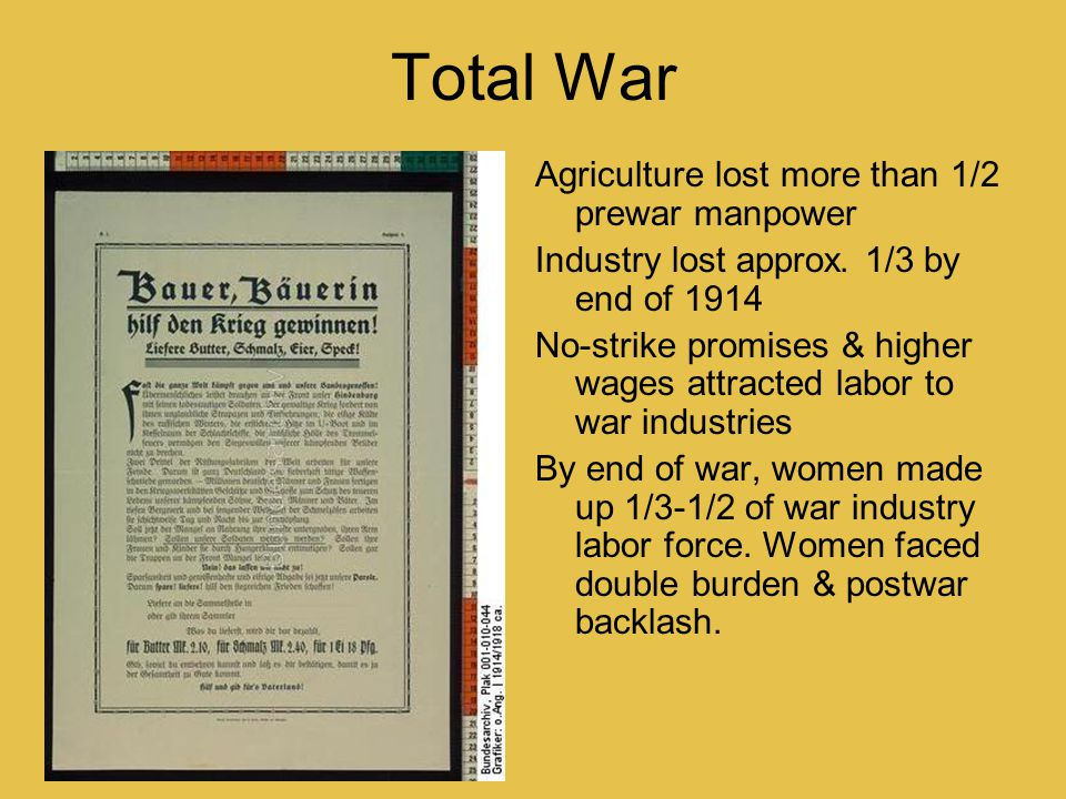 Total War Agriculture lost more than 1/2 prewar manpower Industry lost approx. 1/3 by end of 1914 No-strike promises & higher wages attracted labor to