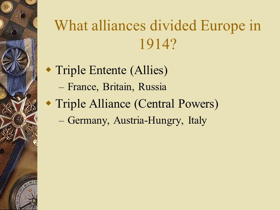 What caused World War I?  Nationalism  Militarism  Imperialism  Alliances