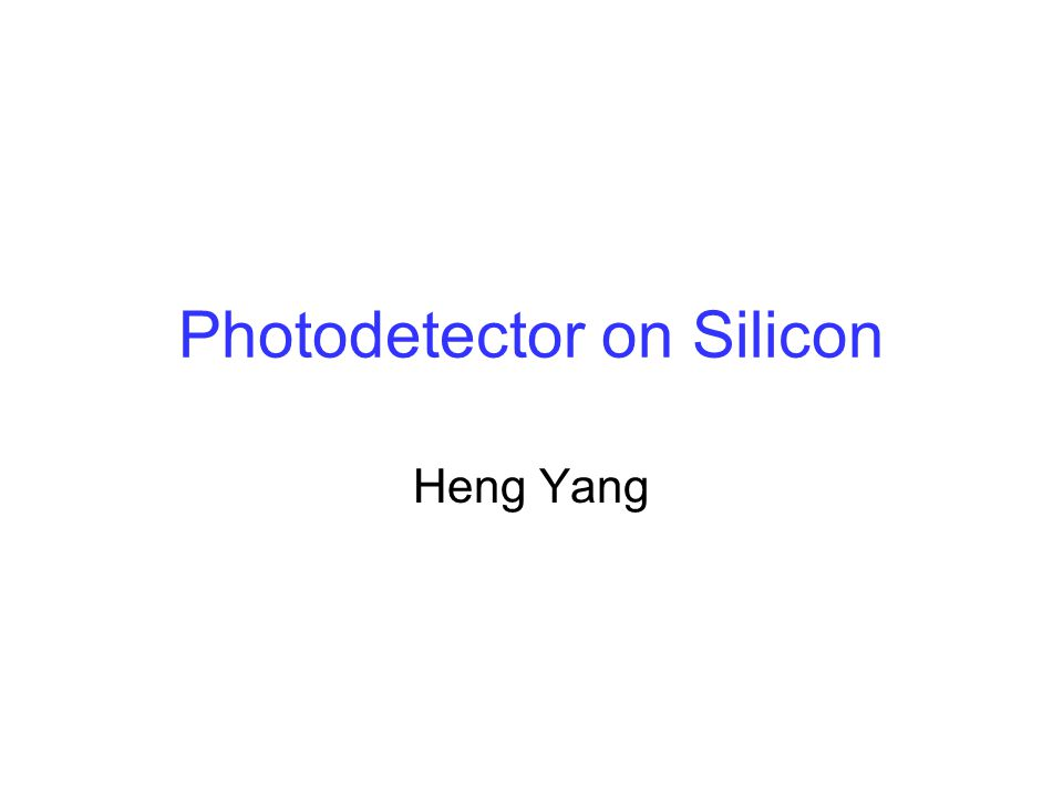 Outline Introduction Si Photodetector in 770 ~ 850 nm Range IR Schottky barrier photodetector