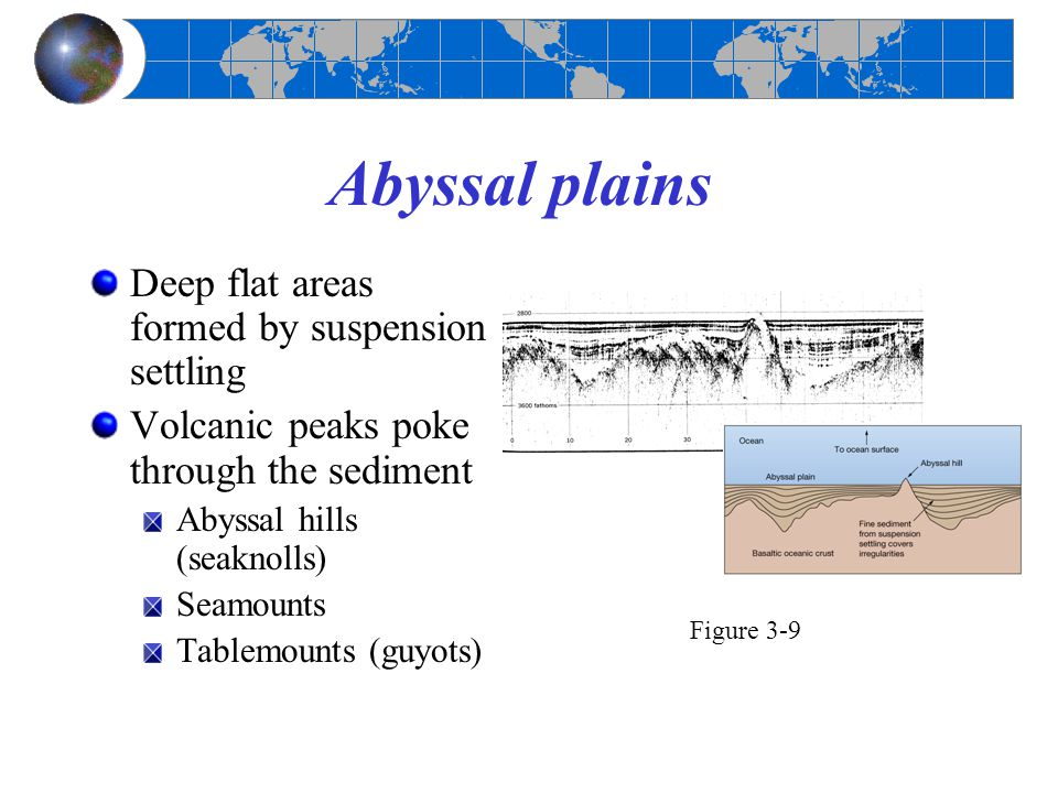 Abyssal plains Deep flat areas formed by suspension settling Volcanic peaks poke through the sediment Abyssal hills (seaknolls) Seamounts Tablemounts