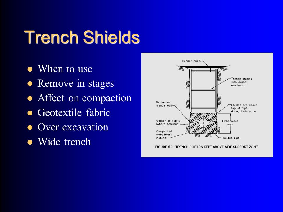 Trench Shields When to use Remove in stages Affect on compaction Geotextile fabric Over excavation Wide trench