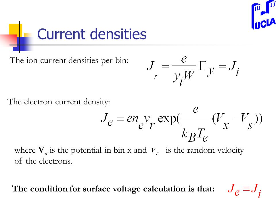 Current densities The ion current densities per bin: The electron current density: where V x is the potential in bin x and is the random velocity of the electrons.