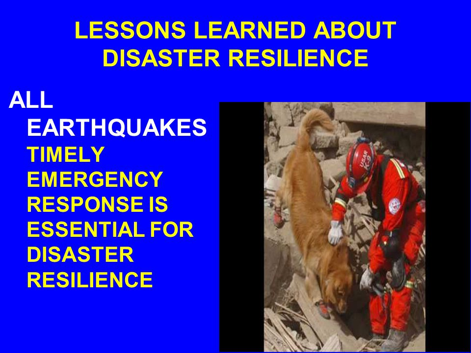 LESSONS LEARNED ABOUT DISASTER RESILIENCE ALL EARTHQUAKES BUILDING CODES AND LIFELINE STANDARDS ARE ESSENTIAL FOR DISASTER RESILIENCE