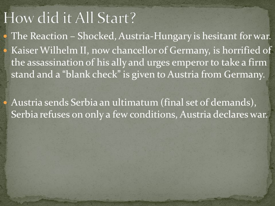 The Reaction – Shocked, Austria-Hungary is hesitant for war.