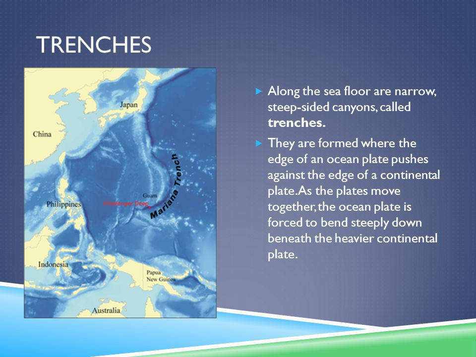 TRENCHES  Along the sea floor are narrow, steep-sided canyons, called trenches.  They are formed where the edge of an ocean plate pushes against the
