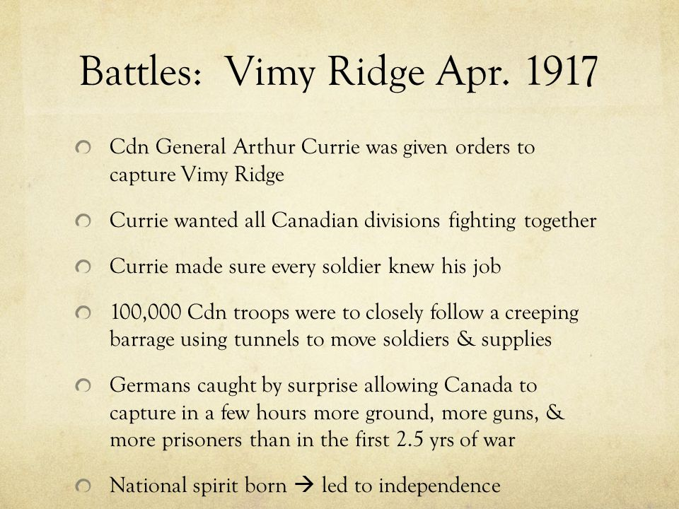 Battles: Vimy Ridge Apr.