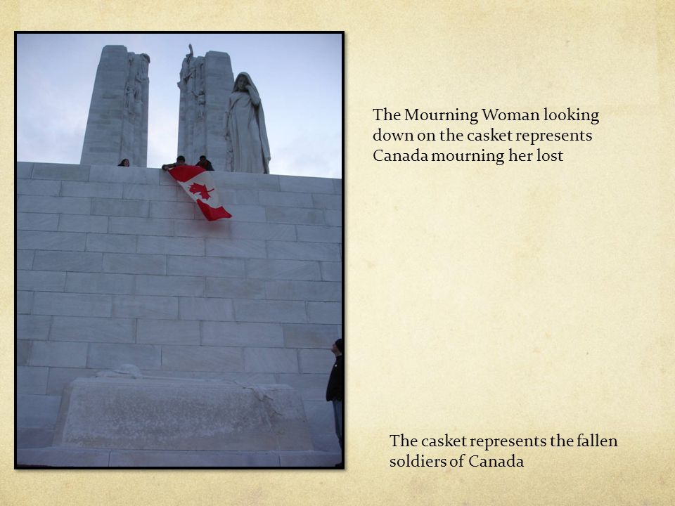 The casket represents the fallen soldiers of Canada The Mourning Woman looking down on the casket represents Canada mourning her lost