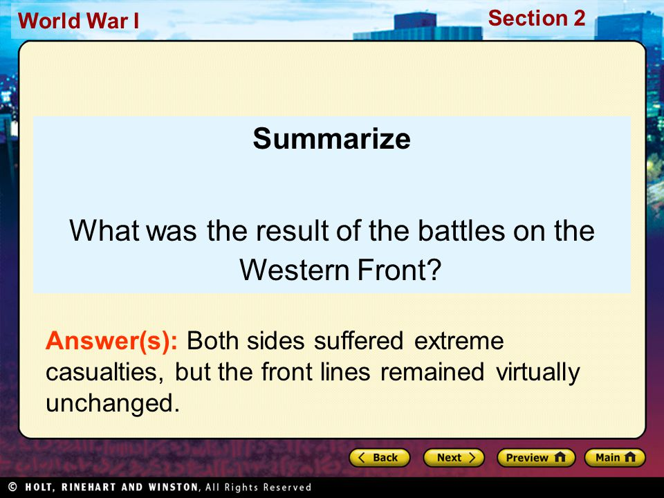 Section 2 World War I Summarize What was the result of the battles on the Western Front.