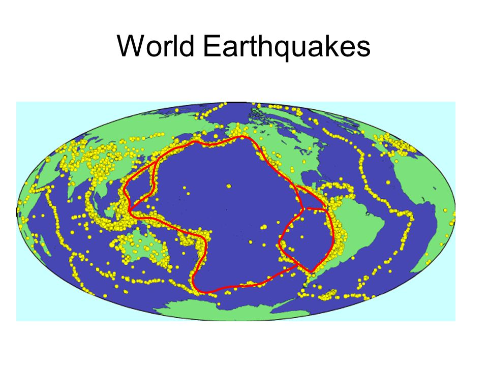 Earthquakes outline plates Looking at the pattern of major worldwide earthquakes over the past century shows a pattern.