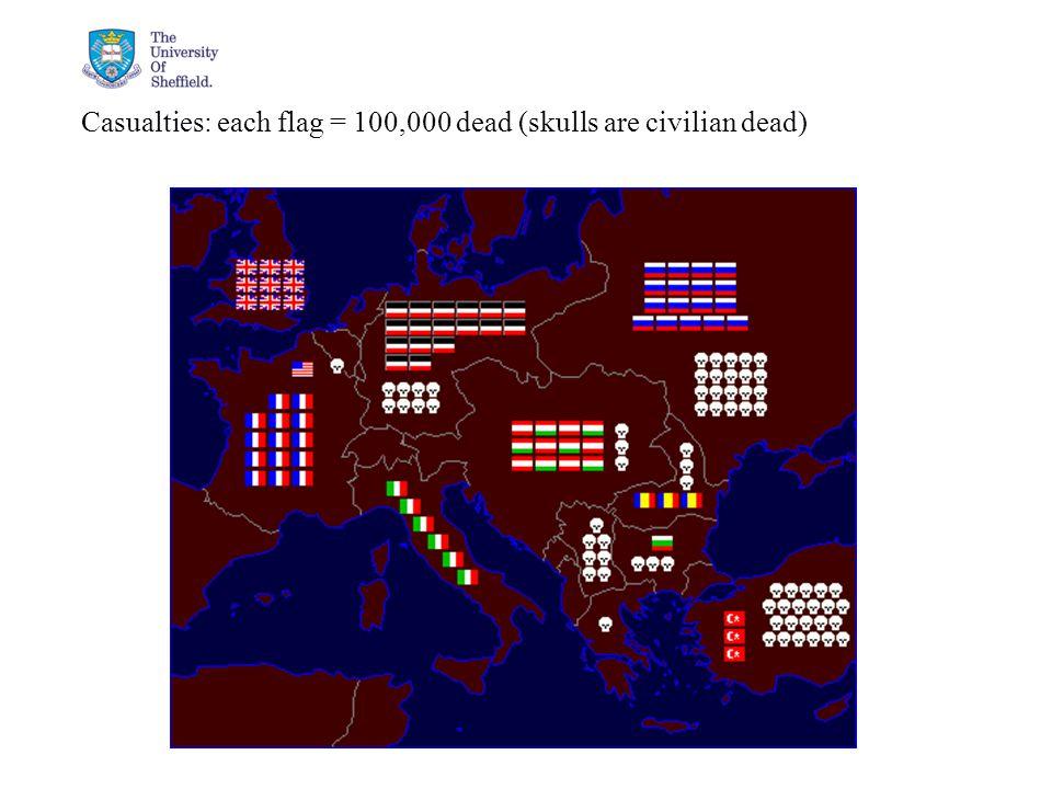 04/05/2015© The University of Sheffield Casualties: each flag = 100,000 dead (skulls are civilian dead)