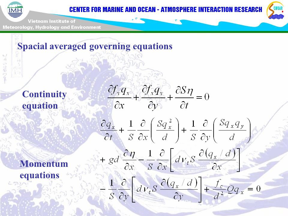 Spacial averaged governing equations Continuity equation Momentum equations