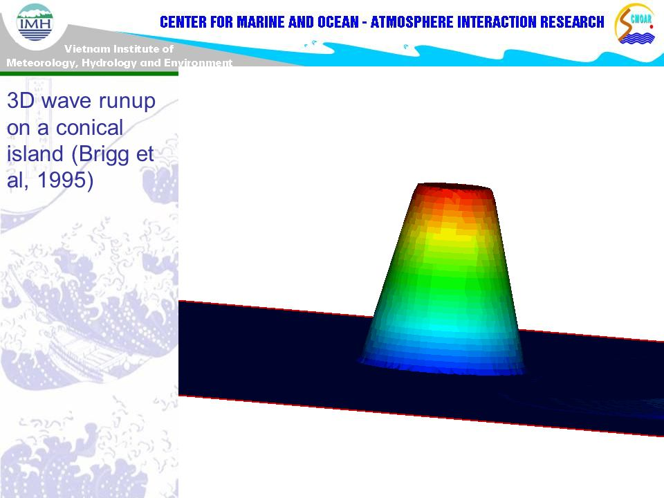 3D wave runup on a conical island (Brigg et al, 1995)