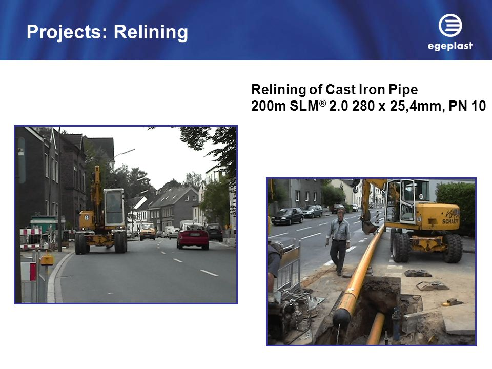 Relining of Cast Iron Pipe 200m SLM ® 2.0 280 x 25,4mm, PN 10 Projects: Relining