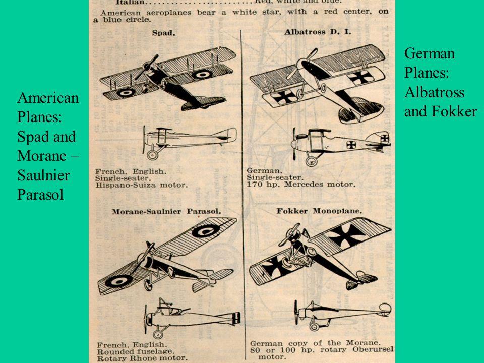 American Planes: Spad and Morane – Saulnier Parasol German Planes: Albatross and Fokker