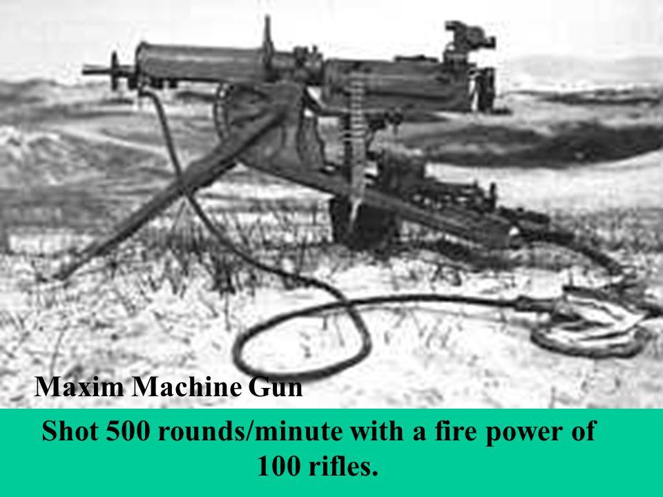 Shot 500 rounds/minute with a fire power of 100 rifles. Maxim Machine Gun