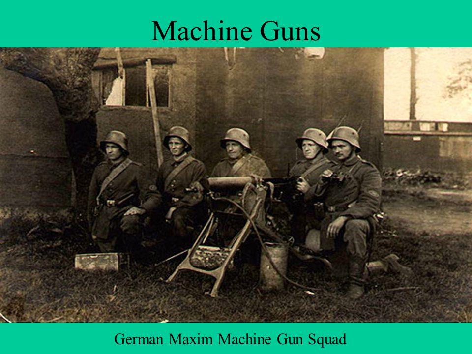 Machine Guns One Machine Gun equaled the power of sixty men. German Maxim Machine Gun Squad