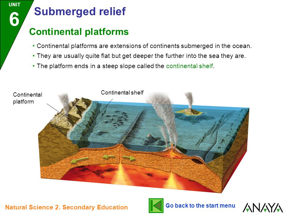 Continental platforms are extensions of continents submerged in the ocean. They are usually quite flat but get deeper the further into the sea they ar