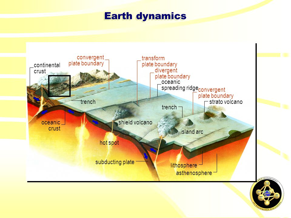 hot spot subducting plate lithosphere asthenosphere shield volcano strato volcano trench convergent plate boundary convergent plate boundary oceanic spreading ridge divergent plate boundary transform plate boundary island arc continental crust oceanic crust Earth dynamics