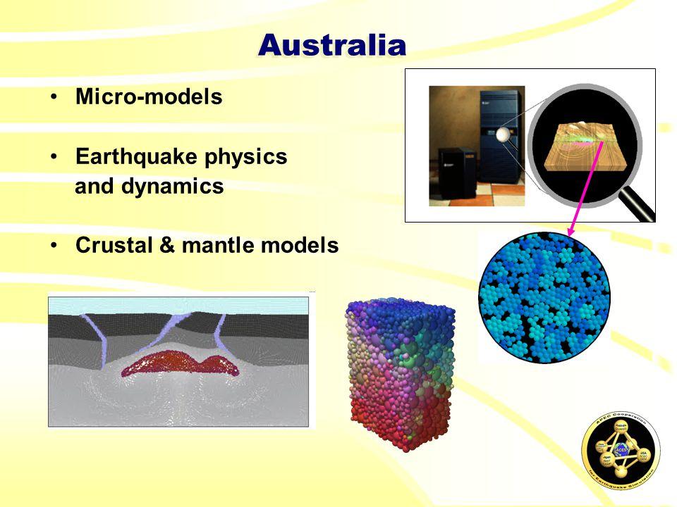 Australia Micro-models Earthquake physics and dynamics Crustal & mantle models