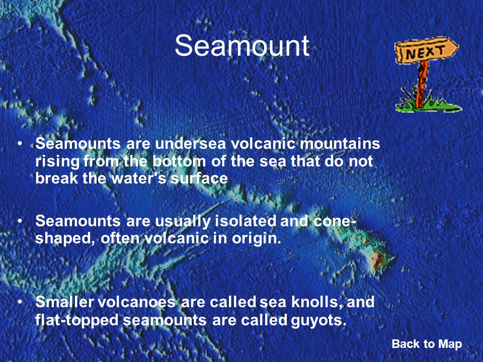 Seamount Seamounts are undersea volcanic mountains rising from the bottom of the sea that do not break the water's surface Seamounts are usually isola